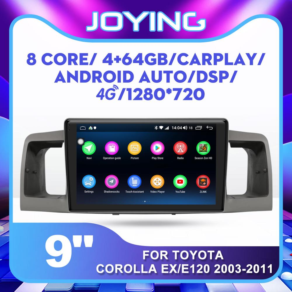 JOYING HD 9'' Head Unit Android 8.1 1 din car multimedia DVD player GPS auto Radio for TOYOTA Corolla E120 e 120 WIFI stereo image