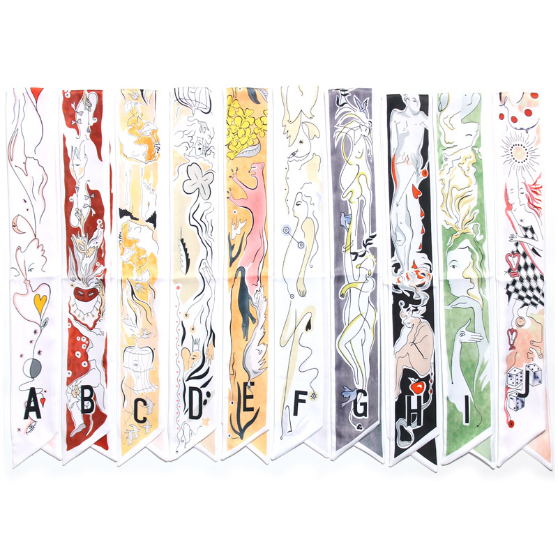 Luxury New 26 Letters Scarf Women Silk Scarf Wrist Towel Head Band Small Tie  Bag Skinny Constellation Scarves