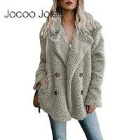 Jocoo Jolee kobieta ciepły płaszcz ze sztucznego futra kobiety jesień zima pluszowy płaszcz Casual ponadgabarytowe miękkie puszyste kurtki z polaru płaszcz
