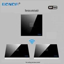 Eu/Uc B0NDA De Smart Home Touch Schakelaar Inductie Type Non woven Draad Is Willekeurig Aan De gehard Glas Panel Door