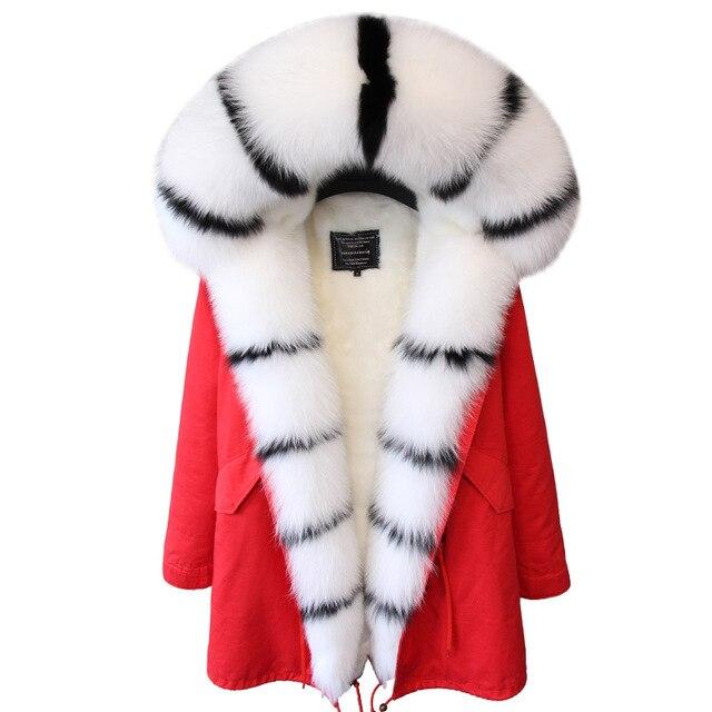 جاكيت نسائي شتوي أنيق موضة 2019 معطف فرو حقيقي طبيعي بياقة من فرو الثعلب الحقيقي جاكيت طويل فضفاض فرو كبير ملابس خارجية قابلة للفصل