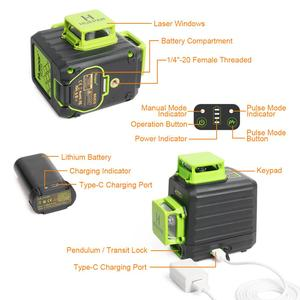 Image 2 - Huepar 3D Cross Line Self leveling Laser Level 12 lines Green Beam Li ion Battery with Type C Charging Port & Hard Carry Case