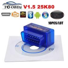 10 PÇS/LOTE 2PCB PIC18F25K80 Firmware 1.5 ELM327 V1.5 OBD2 Bluetooth Interface De Diagnóstico ELM 327 Suporte de Hardware V1.5 Mais Carro