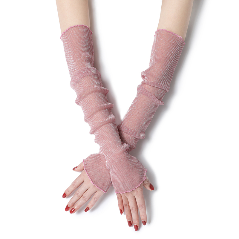 Thin Lace Arm Sleeves For Women Summer Sunscreen Protect Solid Silk Filigree Mesh Warmers Driving Cycling Gloves Cover Sleev