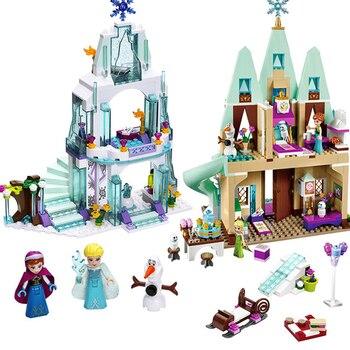 Frozen Snow World Series The Elsa`s Magical Ice Castle Set girls Building Blocks Bricks Toys Girl friend compatible 41148 4