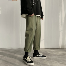 Casual Pants Men's Fashion Solid Color Cotton Drawstring Straight Pants Men Streetwear Wild Loose Hip Hop Trousers Mens M-5XL