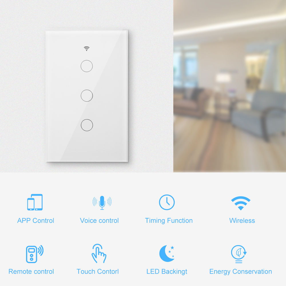 WIFI Smart Switch <font><b>RF433</b></font> Smart Control APP Remote Touch Control Switch Smart Home <font><b>Wall</b></font> Touch Switch for Alexa Echo Google Home image