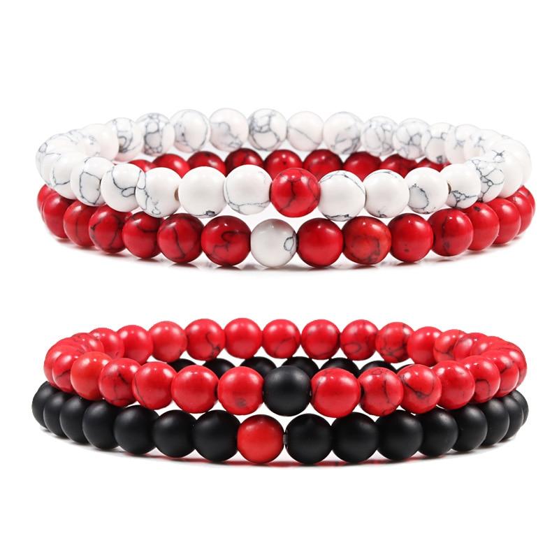 Couple Distance Bracelet Red Turquoises Black Matte Natural Stone Men Bangle 6mm Elastic Rope Beaded Bracelets for Women Jewelry