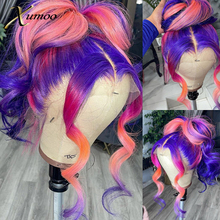 XUMOO Purple Rainbow Color Lace Front Wigs Pre Plucked Ombre Pink Body Wave Raw Brazilian Human Hair For Cosplay  Women