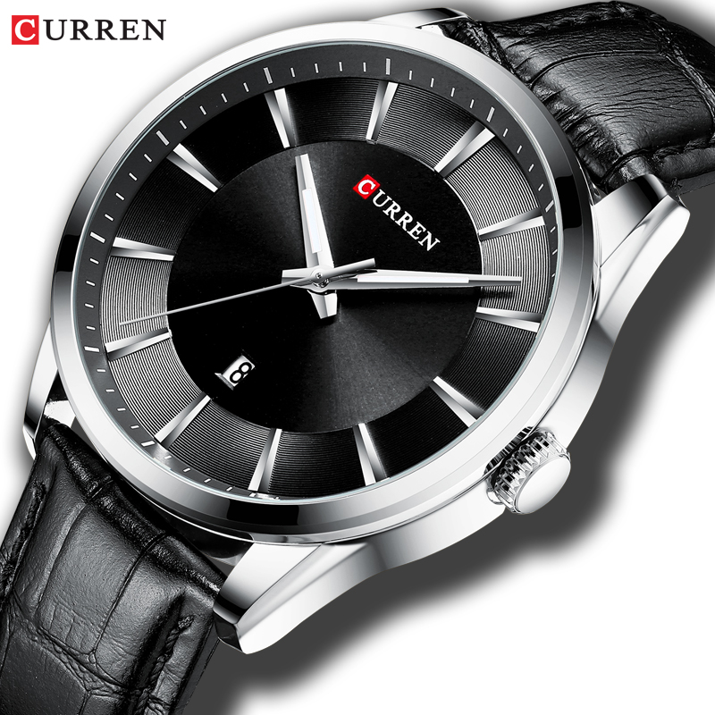 Fashion Casual Watches Clock CURREN New Men Luxury Brand Watch Simple Quartz Wristwatch With Leather Male Watches Black