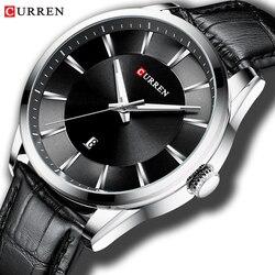 Moda Casual Relógios Relógio CURREN Nova Marca de Luxo Homens Assistir Simples relógio de Pulso de Quartzo com Relógios Masculinos De Couro Preto