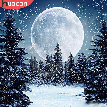 HUACAN Diamond Embroidery Snow Landscape Winter Full Square Drill Picture Of Rhinestone Mosaic Decoration Paint With - discount item  37% OFF Arts,Crafts & Sewing