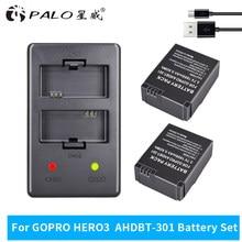 2-4 pièces 3.7V 1600 mAh Li-ion AHDBT-301 Rechargeable Batterie + chargeur Double USB Pour Gopro AHDBT-301 AHDBT-201 Neuf
