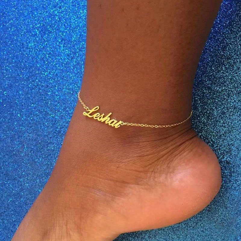 Custom Name Anklets For Women Stainless Steel Gold Chain Personalized Foot Anklet Bohemian Beach Summer Jewelry Fashion Gift