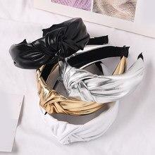 Bandeau noué en cuir PU pour femmes, couleur unie, argent, or, paillettes, accessoires pour cheveux, 2020