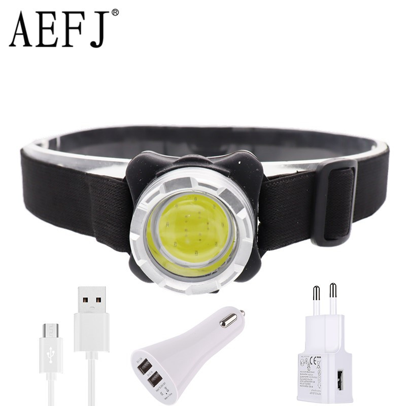 COB LED Headlamp USB Rechargeable Headlight Waterproof Head Lamp White Red Lighting With Built-in Battery