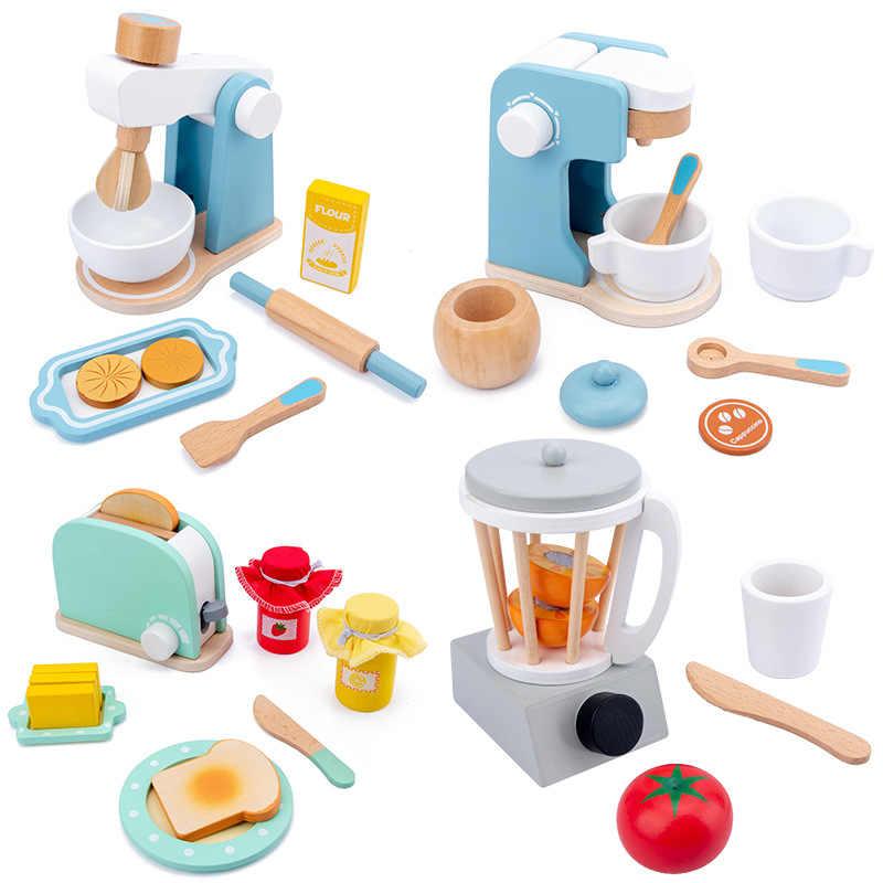 Cozinha de madeira fingir jogar brinquedo simulação de madeira máquina de café torradeira misturador comida bebê aprendizagem precoce brinquedos educativos