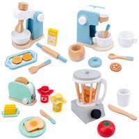 De cocina de madera de juguete para juego de imitación de simulación de café de madera máquina tostadora de Mezclador de alimentos de bebé Juguetes educativos de Aprendizaje Temprano