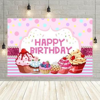 Avezano Girl Pink Cake Ice Cream Newborn Celebration Birthday Party Baby Shower Banner Decor Backdrop Background Custom Studio - discount item  43% OFF Camera & Photo