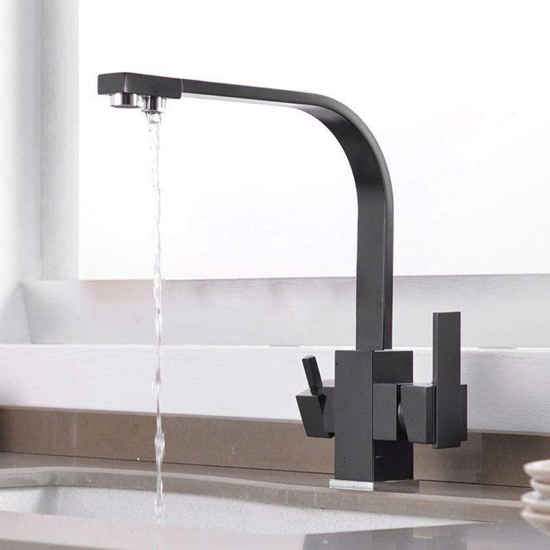 Three-in-One Water Purifier Faucet Kitchen Sink Net Faucet Rotating Straight Drinking Fountains Pure Water Home Square 360 Degre
