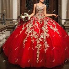 Vestido de baile rojo con apliques de tul, plisado, quinceañera, vestidos de corsé, espalda, 15 años, fiesta, graduación, de talla grande