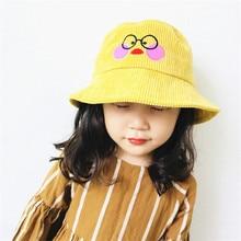 Korea Handmade Cartoon Duck Corduroy Solid Bucket Hats Caps Fall Winter for Children Girls Kids Apparel Accessories-OZKHFW004C5
