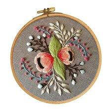 Полный спектр стартовых наборов для вышивки с цветочным узором, включая ткань для вышивки, нитки, иглы и обруч для начинающих