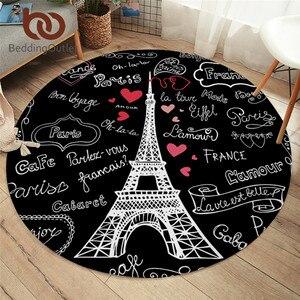 BeddingOutlet France Paris Tower Round Carpets Letters Print Living Room Area Rug Black and White Floor Mat Kids Play Mat 100cm