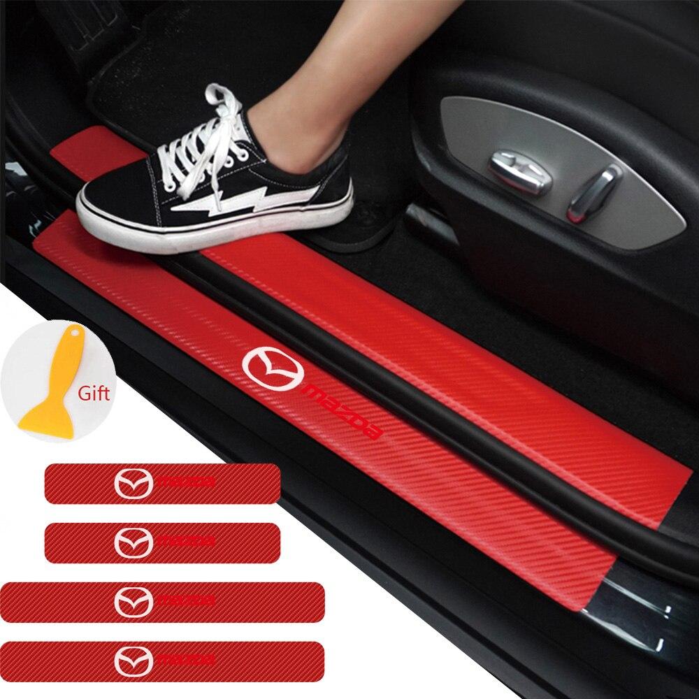 รถ4PCSประตูรถคาร์บอนไฟเบอร์Scuffแผ่นสติกเกอร์สำหรับMazda Demio 2 3 5 6 M2 m3 M5 M6 CX-5 CX-7 CX-9 RX-8 MX5