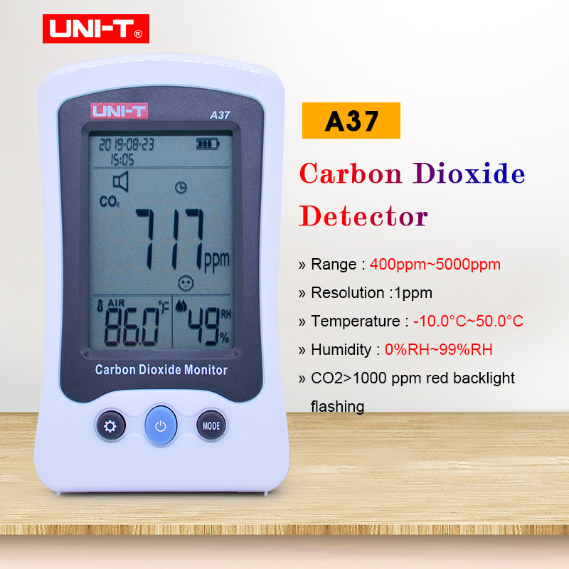 UNI-T A37 Carbon Dioxide Monitor C02 concentration tester temp humidity date/time Automatic baseline correction LCD CO2 Meter