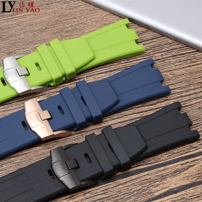 28mm Natural Silicone <font><b>AP</b></font> Strap 15703 Royal Waterproof Sports watchband <font><b>watch</b></font> <font><b>band</b></font> <font><b>Watch</b></font> Audemars And Piguet belt logo tools image