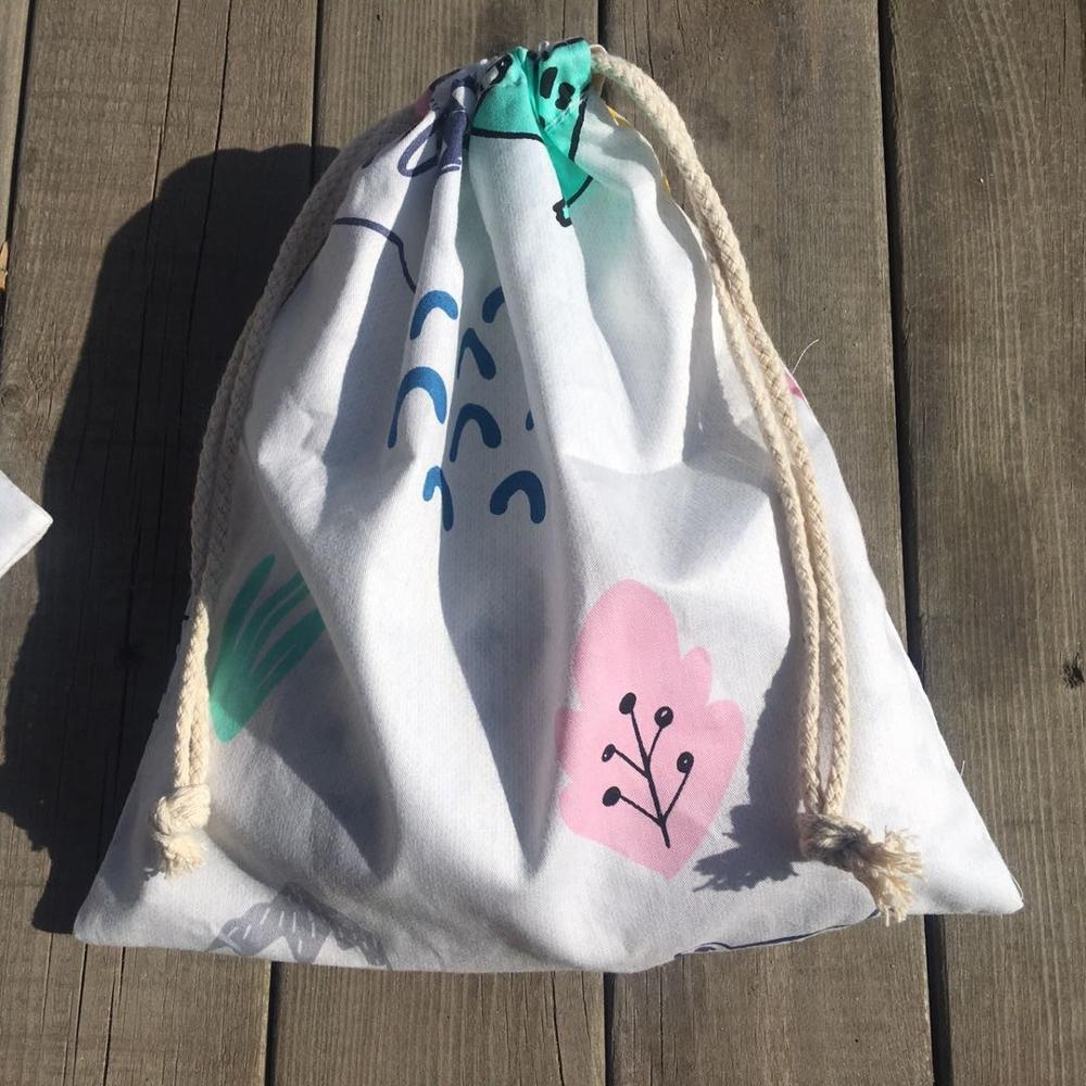 1pc Cotton Twill Drawstring Pouch Party Gift Bag Print Tree Leaf YL420b