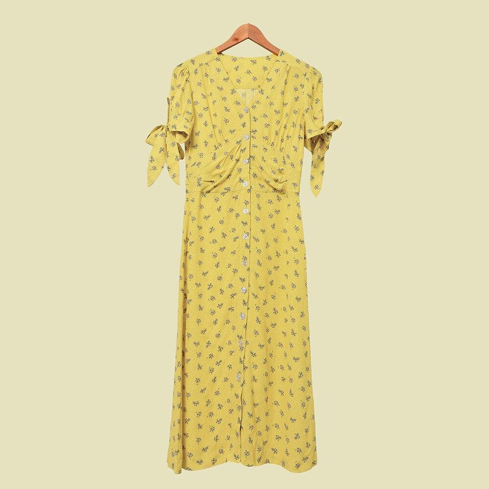 Женское платье в стиле ретро с цветочным принтом, весна лето 2020, новое однобортное женское платье на шнуровке с v образным вырезом|Платья|   | АлиЭкспресс