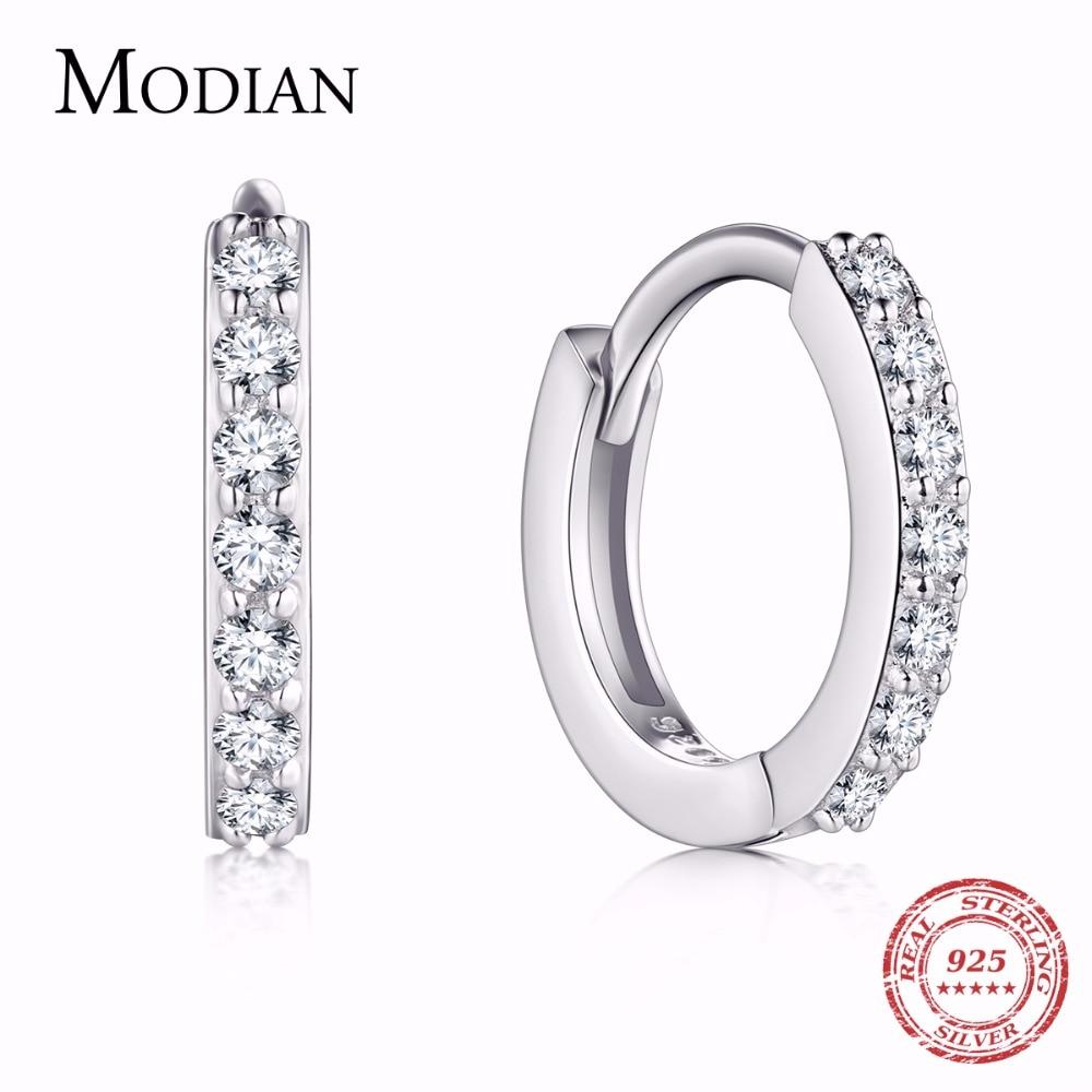 Small Hoop Earring,5 Austrian Crystal,AAA ZC Elements,925 Sterling Silver Material,Elegant earrings