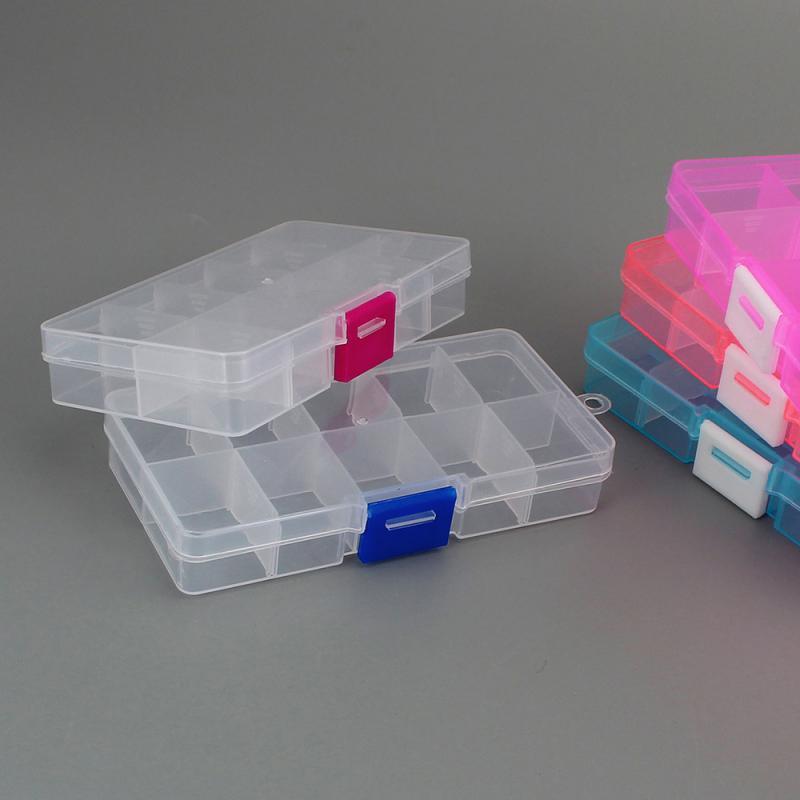 Прозрачный пустой 10 слотов, разделенный ящик для хранения, украшение для ногтей, стразы, маленькие бусины, Чехол Органайзер со съемными пере...