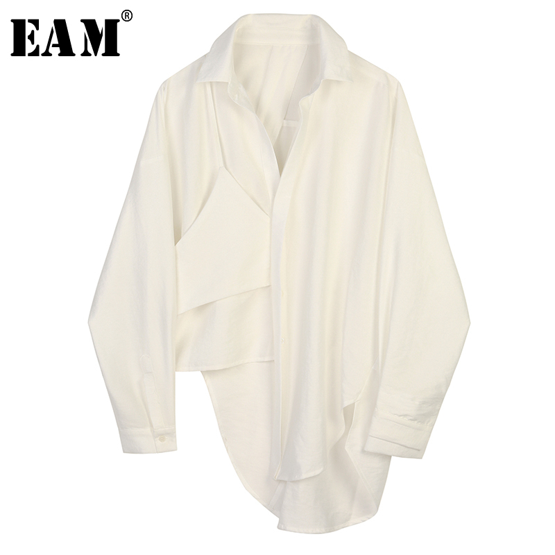 [EAM] Women Black Asymmetrical Big Size Blouse New Lapel Long Sleeve Loose Fit Shirt Fashion Tide Spring Autumn 2020 1B445