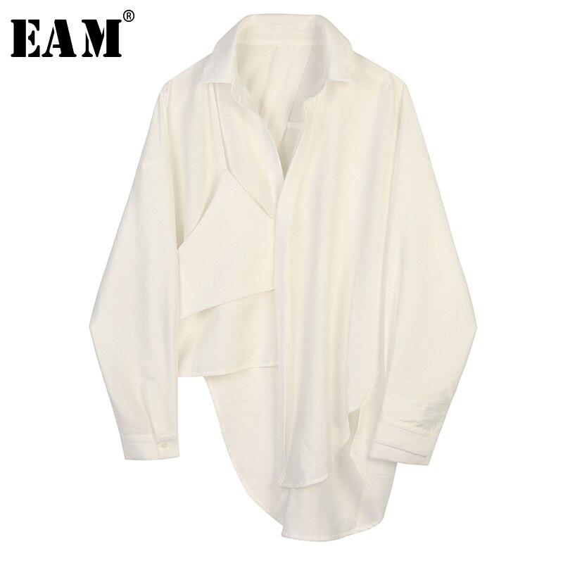 [EAM] Women Black Asymmetrical Big Size Blouse New Lapel Long Sleeve Loose Fit Shirt Fashion Tide Spring Autumn 2020 1B445