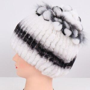 Image 3 - Sombrero de piel Real para mujer buen punto elástico auténtico de piel de conejo Rex sombrero de Invierno para mujer cálido grueso de piel Natural al por mayor al por menor