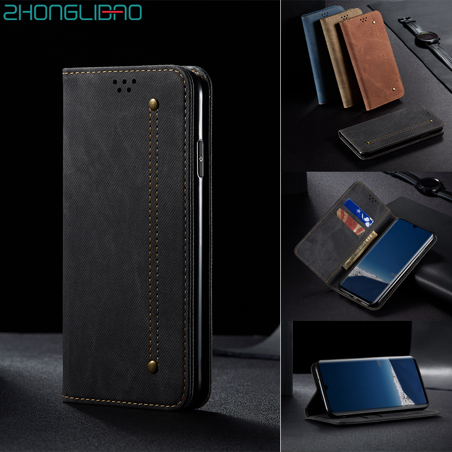 Luxury Magnetic Denim Leather Flip Case for Huawei P30 <font><b>Mate</b></font> 30 Pro <font><b>Lite</b></font> P Smart Z Y9 Prime 2019 Hono 10i <font><b>20</b></font> 8x Wallet Book Cover image