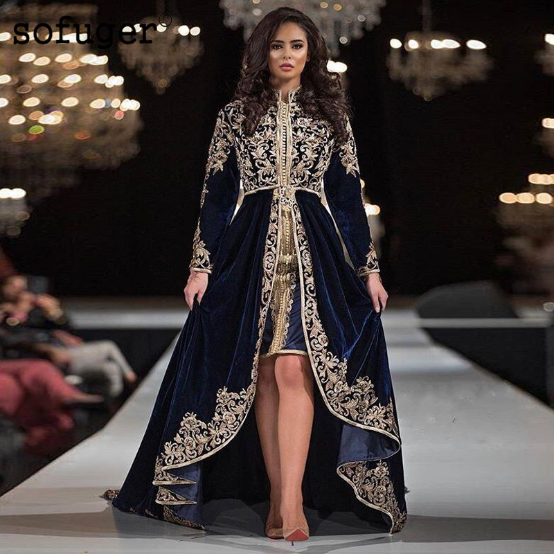 Navy Blue VELOUR Moroccan Kaftan Muslim   Evening     Dresses   Appliques Saudi Arabic Long Sleeve Special Occasion Gown Robe De Soiree