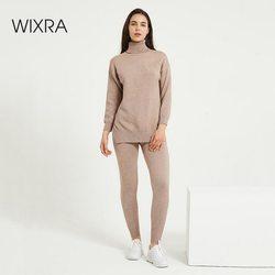 Wixra Vrouwen Trui Sets Coltrui Lange Mouw Losse Truien Truien + Zakken Lange Broek Effen 2 Stuks Suits Winter Kostuum