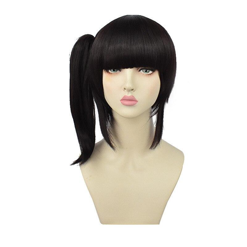 Купить парик для косплея черный коричневый длинный хвост с мультяшным