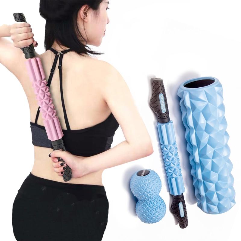 Dark Pink Gymnastic Fitness Yoga Stretching Grid Foam Massage Massager Roller