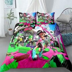 Popularny zestaw pościeli dla dzieci splatoon pojedyncze podwójne podwójne queen king california king rozmiar łóżka komplet pościeli