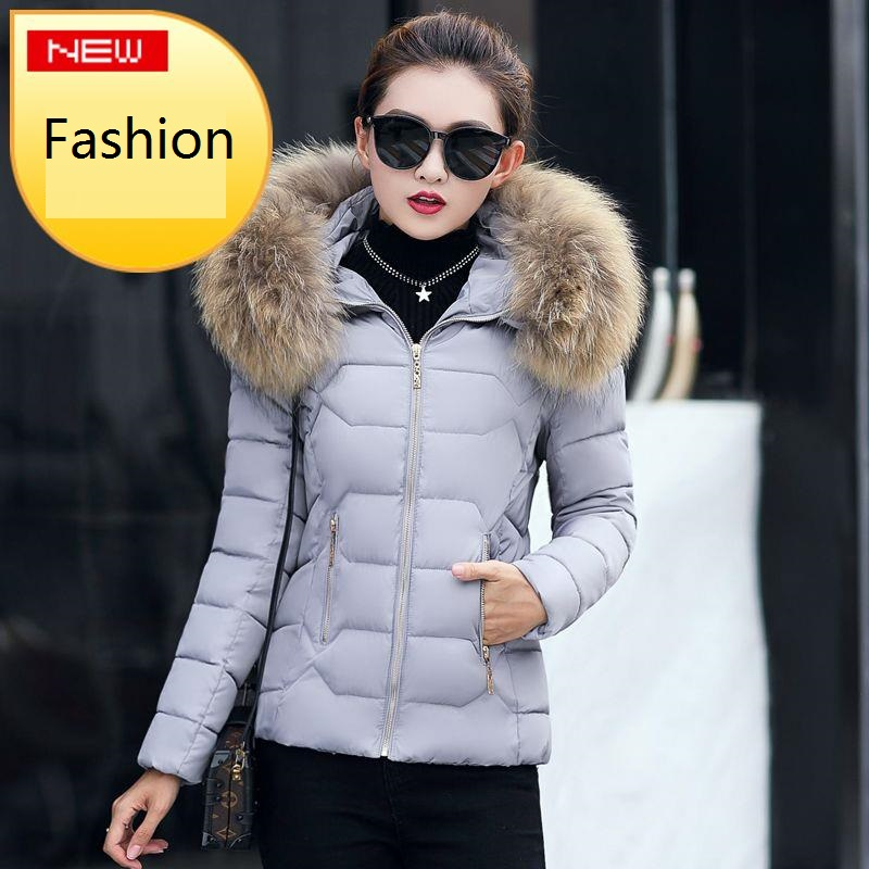 Hot!2018 New Fashion Winter Jacket Women 100% true Raccoon fur collar Coat Parkas Warm Down Female outerwear