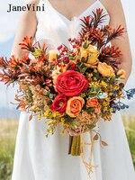JaneVini Vintage Wedding Bouquet Flowers Handmade Red Silk Roses Bridal Hold Bouquet Eucalyptus Leaf Autumn Wedding Accessories