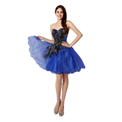 In Stock Embroidery Royal Blue Short Cocktail Dresses Sweetheart Crystal Club Party Gown Real Picture vestidos de coctel SD039