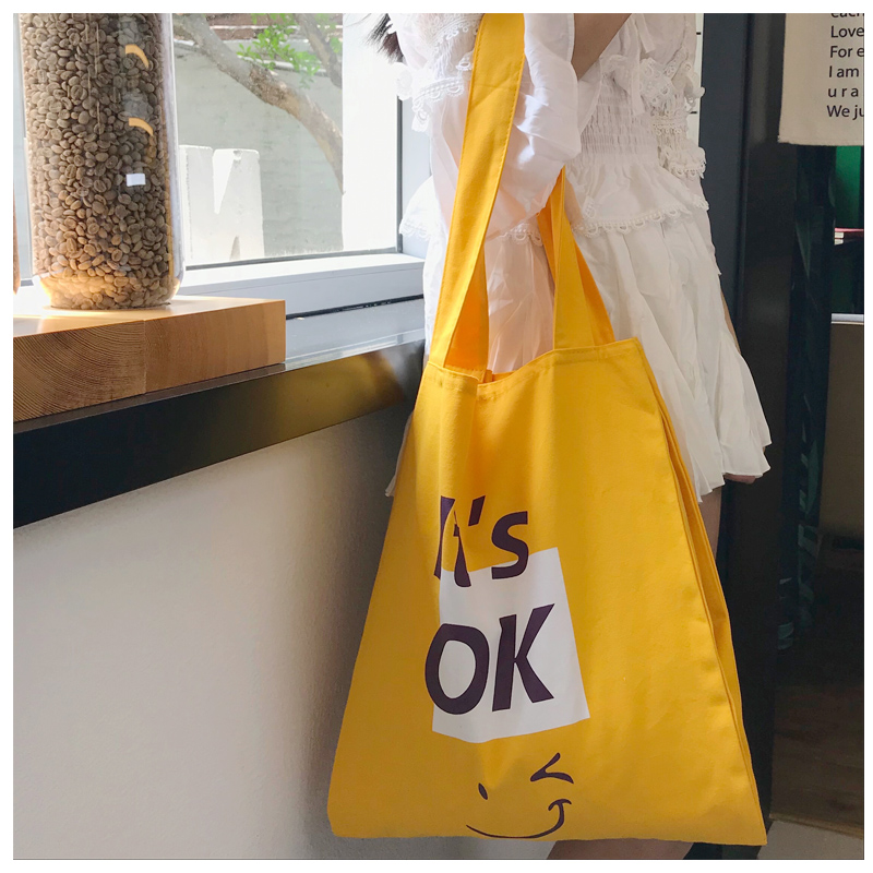 GABWE Canvas Tote Bags Yellow Concise Letter Printing Reusable Girls Fashion Casual Handbags High Capacity Grocery Shopping Bag