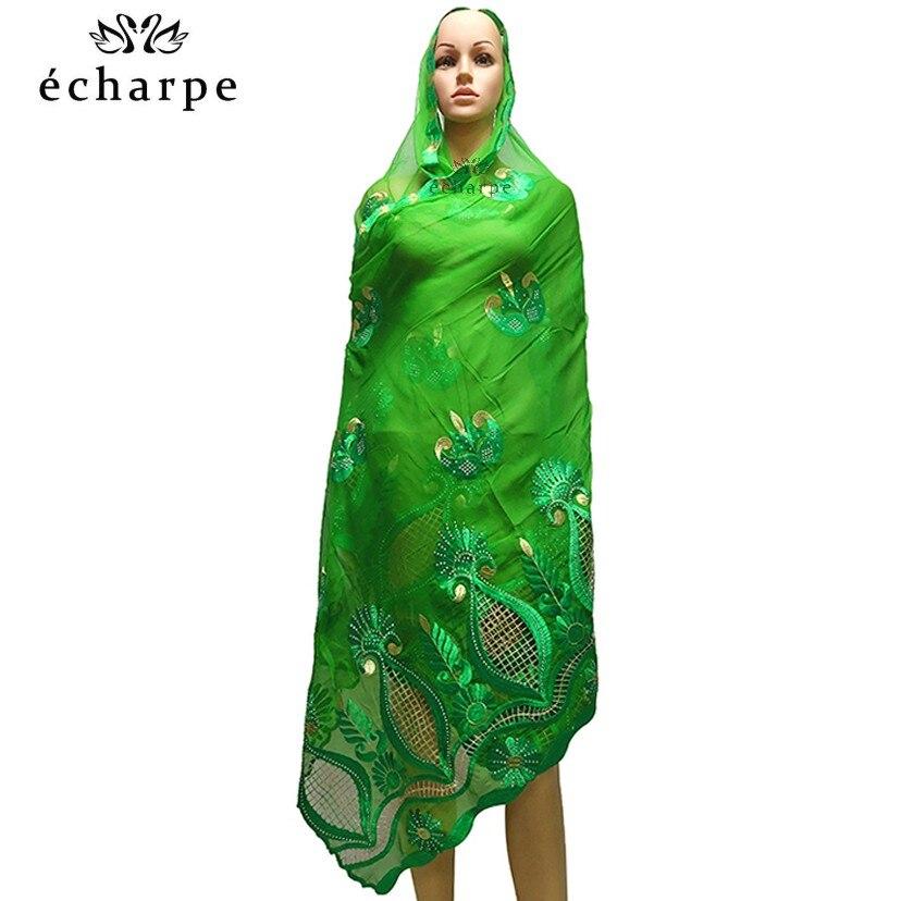 2020 New African Women Hijab Scarf, Embroidery Chiffon Shawl.hollow Design Big Size Scarf For Shawls EC981