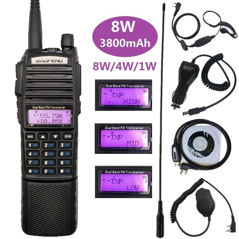 8W Baofeng UV-82 Walkie Talkie Long Range UHF VHF Marine CB Amateur Radio Scanner Transceiver PMR 446 UV 82 Large Battey 3800mAh